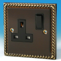 Varilight 1 Gang 13 Amp Switched Electrical Plug Socket Antique Georgian Brass Black Insert XA4B